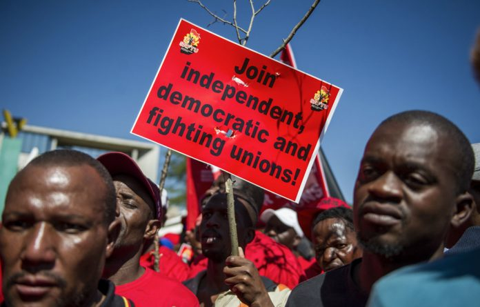 Fighting for their rights: Saftu members march for a fair minimum wage. The trade union federation has been unable to participate in Nedlac discussions about changes to labour legislation