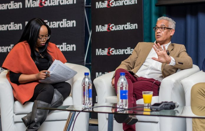 Panelists Siki Mgabadeli and Angelo Fick at the critical thinking forum centred on the education crisis in South Africa