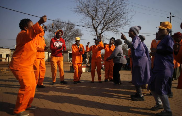 Shutdown: Community Work Programme members protest for a living wage.