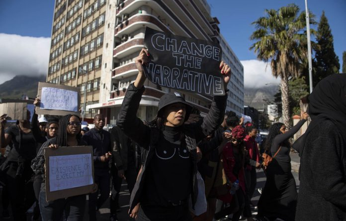 A protest that took place outside the World Economic Forum in September against gender based violence.