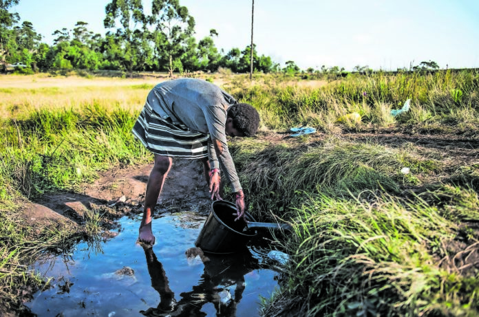 Troubled waters: A girl collects water from a spring. In South Africa there are 5.3-million households without access to safe and reliable drinking water.