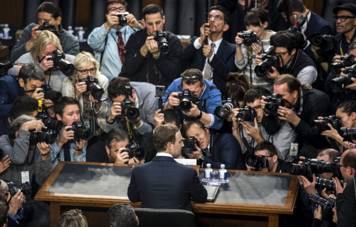 Spill out: Facebook chief Mark Zuckerberg testifies before the US Senate judiciary and commerce committees on the protection of user data.