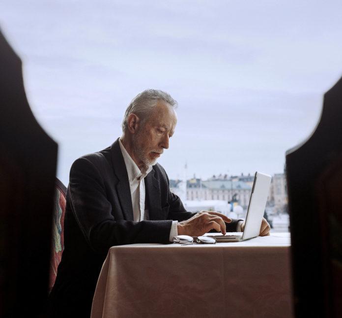 John Maxwell Coetzee, winner of the 2003 literature Nobel Prize, at the Stockholm Grand Hotel bar.