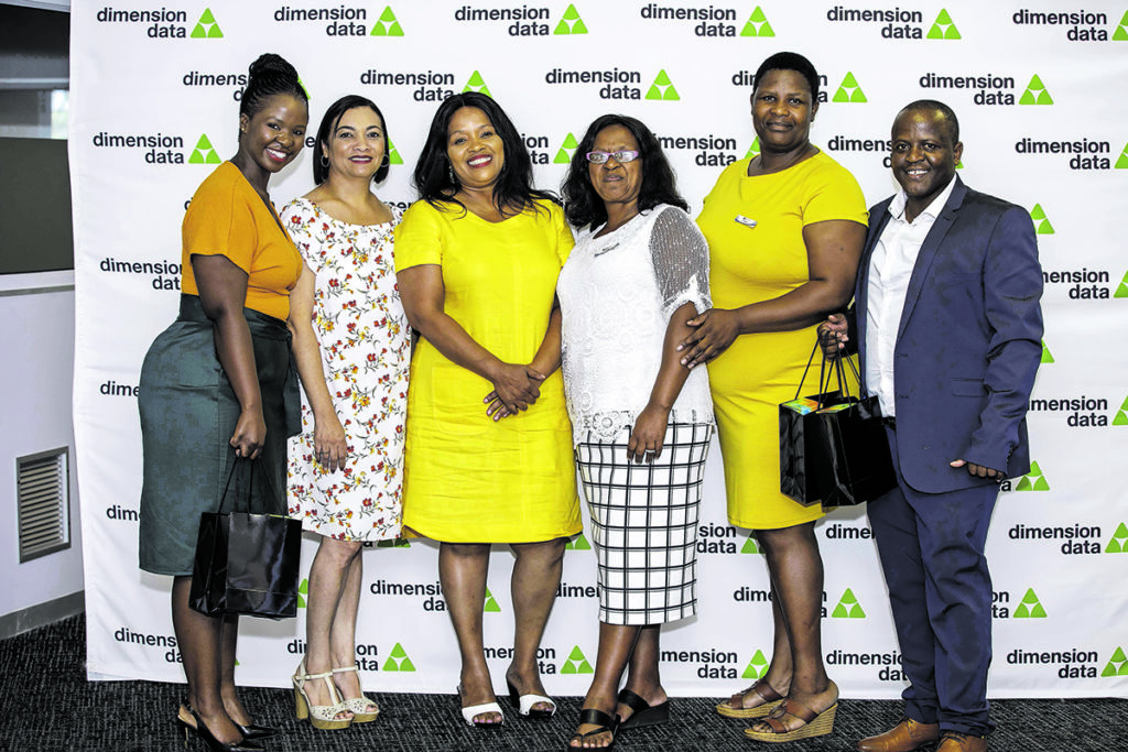 Dimension Data has opened a new chapter of its Saturday School Programme in Port Elizabeth. Pictured are staff members, principals, representatives from the department of education, talent manager Lulama Mafisa and programme manager Shakes Makgalemane. (Jeff Latham Photography)