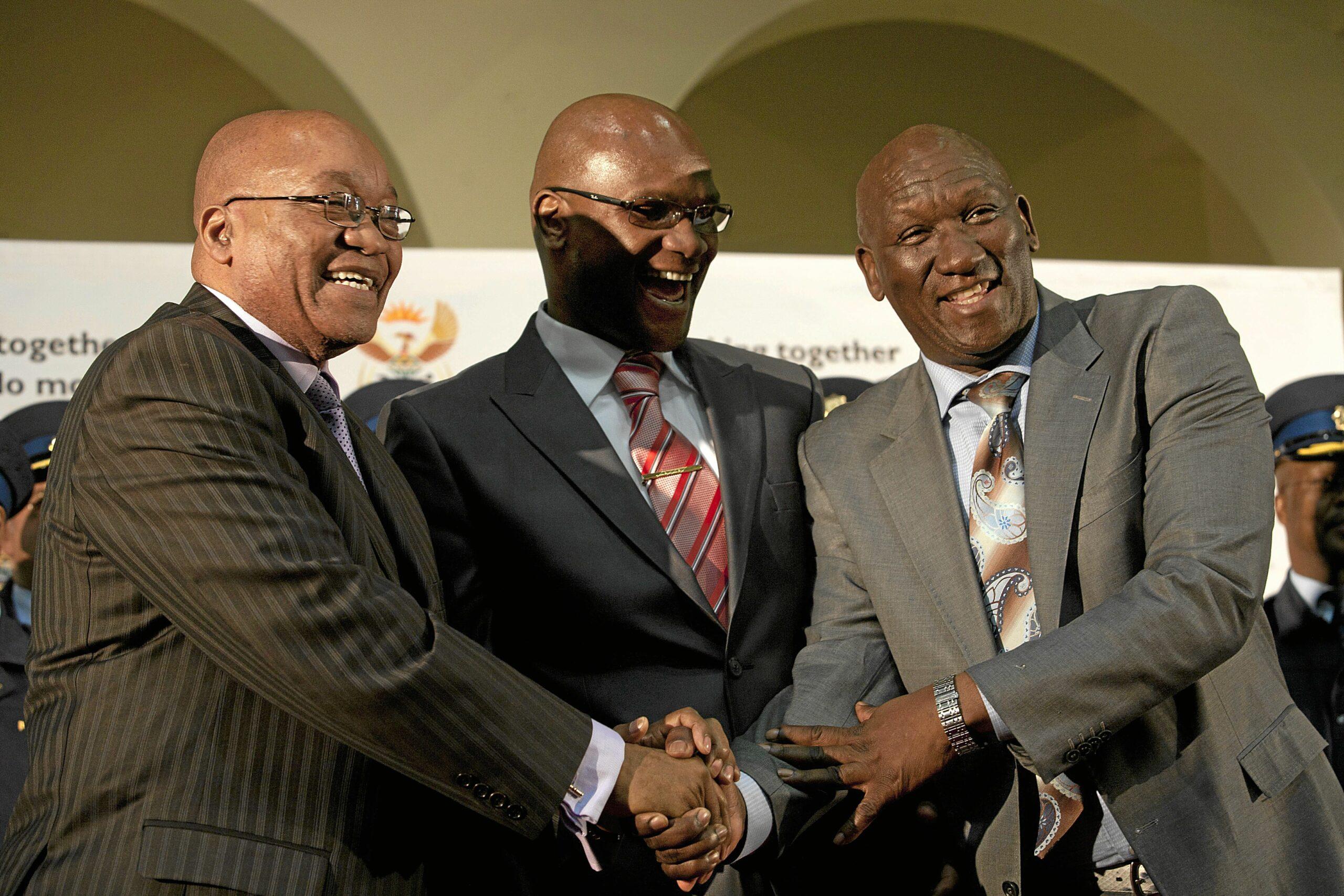 President Jacob Zuma, Police Minister Nathi Mthethwa and former top cop Bheki Cele.  Lisa Skinner