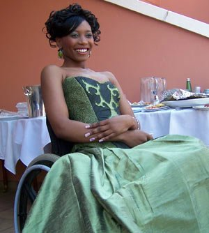 Jeanett Mashigo, a Miss Confidence contestant, poses with her dress during this weeks photo shoot. Imke van Hoorn, M&G